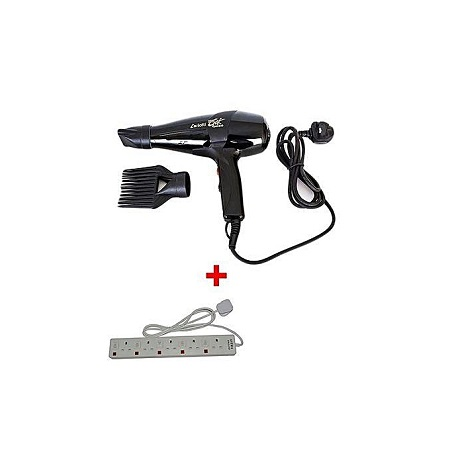 Ceriotti Super GEK 3000 Hairdryer - 1700W - Black With 5-Way Socket Extension Cable - White