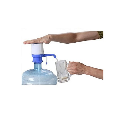 HUILE Drinking Water Hand Press Pump for Bottled Water - White & Blue