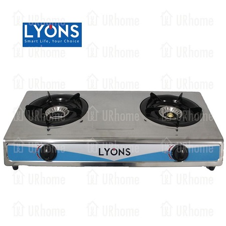 Lyons GS-002 Stainless Steel Body Gas Stove Double Burner Silver