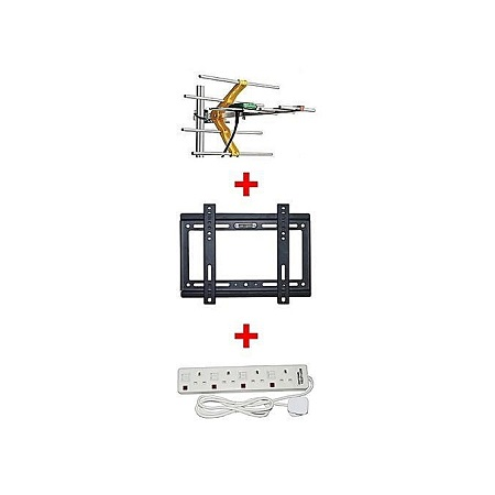 Aerial + 14-42 Inch TV wall bracket + 4 way extension socket