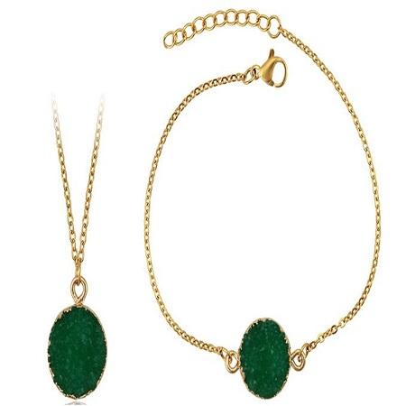 Carjay Jewels Gold Coated Necklace + Matching Gold Coated Bracelet