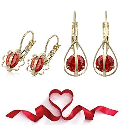 CarJay Jewels 2 Pairs Red Gold Coated Earring hoops