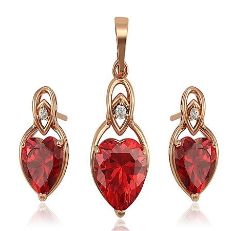 CarJay Jewels Gold Coated Earring studs + Free Pendant