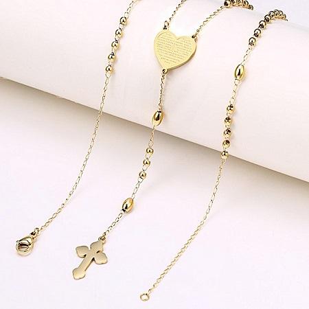 CarJay Jewels Gold Coated Rosary Necklace