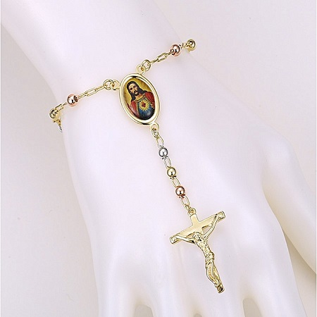 CarJay Jewels Gold Coated Multi Color Rosary Bracelet