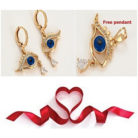 CarJay Jewels Gold Coated Earring Loops + Free Pendant