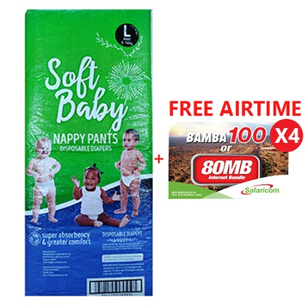 Soft Baby Premium Disposable Pull Up Pants 144 Pieces- Large with FREE AIRTIME