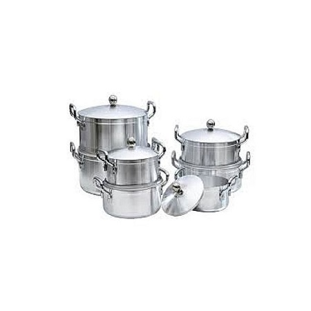 Generic 14-Piece Stainless Aluminium Cookware Pot Sufuria Set{heavy duty} plus 6 silver spoon