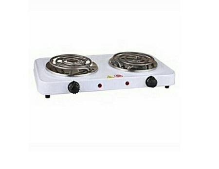 Electric Double Hot Plate - White