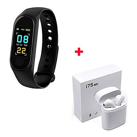 M3 Smart Bracelet Heart Rate Monitor,Sports Pedometer with Free Wireless Earphones
