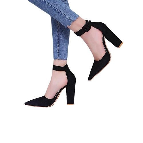 Ladies Closed Ankle Strap Chunky Heels