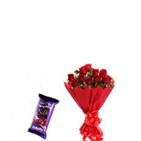 Valentines Gift Hamper For Her- Fresh Red Roses Bouquet, and Cadbury Milk Chocolate