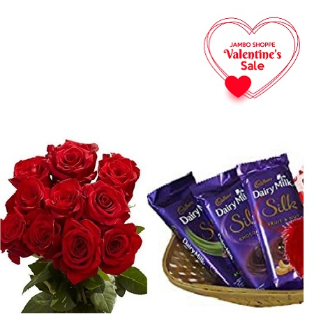 Valentines Gift Hamper For Her- Fresh Red Roses Bouquet, and Cadbury Milk Chocolate 3PCs