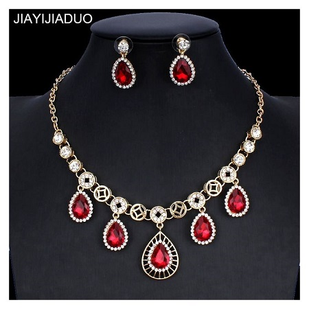 Bridal Crystal Jewellery Set for Women Gold