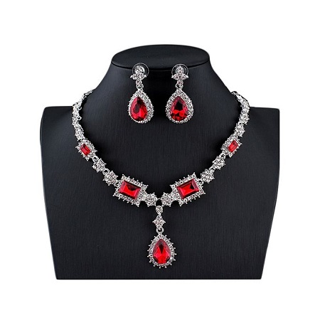 Turkish Jewellery Silver Color Necklace with Red Earrings Set