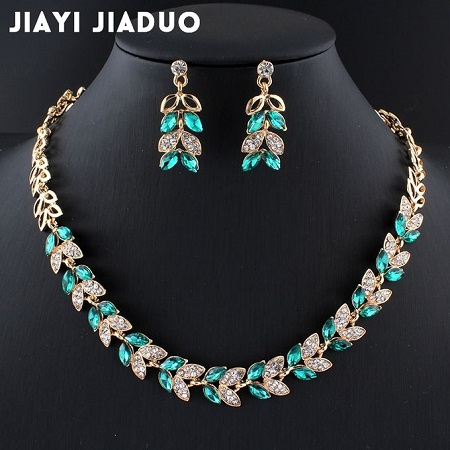 High Quality Luxurious Austrian Crystal Jewelry Sets Gold & Green