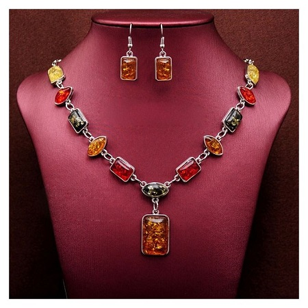 Turkish Jewellery Multi-color Necklace with Multi-color Earrings Sets