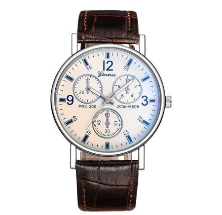 Fashion Quartz Watch for Men perfect gift- White and Brown
