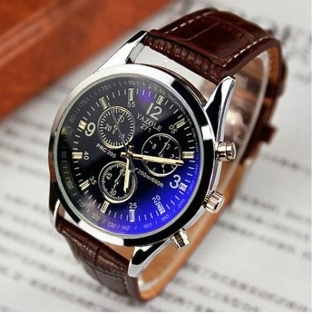 Fashion Quartz Wrist Watch for Men perfect gift- Black and Brown