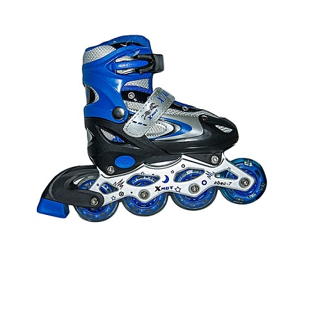 BFT Full-set Tracer Adjustable Inline Skates with Helmet and Protective Pads- Size 39-42 - Blue & White