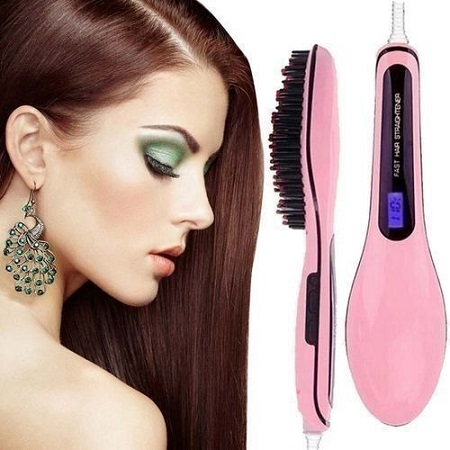 Professional Hair Straightener Comb Brush LCD Display Electric Heating Irons