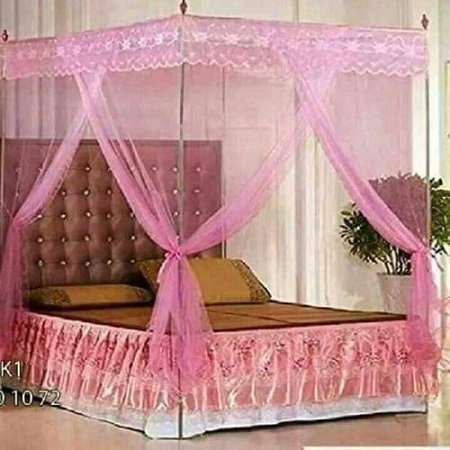 Universal Mosquito Net with Metallic Stand - Pink