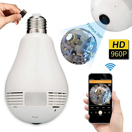 Nanny Camera, panoramic 1080p 360Degree Night Vision, with Wifi light bulb camera