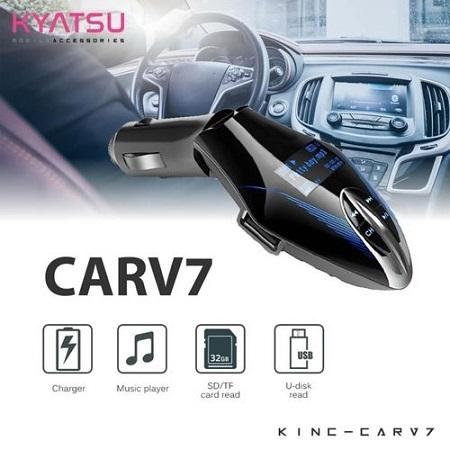 CARV7 LCD Bluetooth Car Charger FM Kit MP3 Transmitter USB Handsfree Mobile Black
