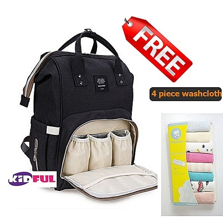 Kidful Diaper Bag Backpack, Multifunction Travel Back Pack Maternity Baby Nappy Changing Bags, Large Capacity, Waterproof and Stylish, Black + Free 4 piece washcloth