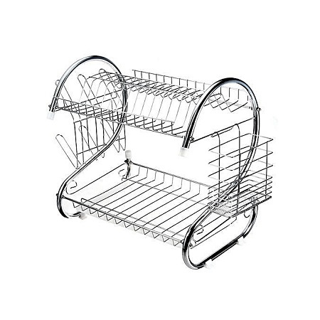 Stainless Steel Dish Rack 2 Tier - Space Saver Dish Drainer Drying Holder