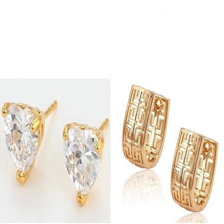 Double Double Gold Coated Earrings Valentines Combo