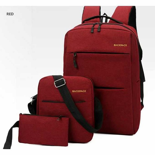 Fashion 3in1 Anti-theft Canvas Laptop USB Backpacks - Maroon
