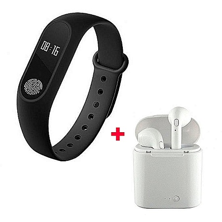 i7 i7 Twin Bluetooth Wireles Earphone with Mic and Charging Pod With Free M2 Smart Bracelet - White
