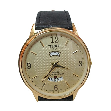 Gorgeous Men Leather Gold Wrist Watch With Calender