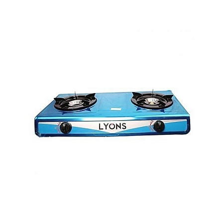 Lyons Stainless Steel Body Gas Stove Double Burner- Blue.