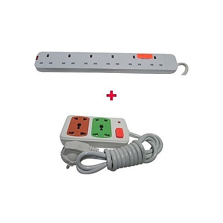 Red Lable 6 way With Free Small Extension Cable-White