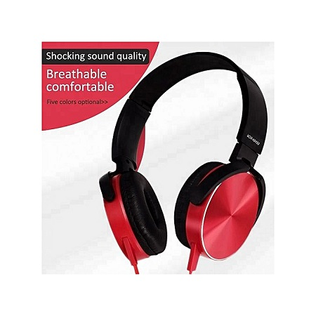 Super Bass Wired Headphones with Bass Booster-Red