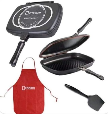 Dessini Amazing Double Grill Non-Stick Pan 36cm With Free Apron And Spatula- Black