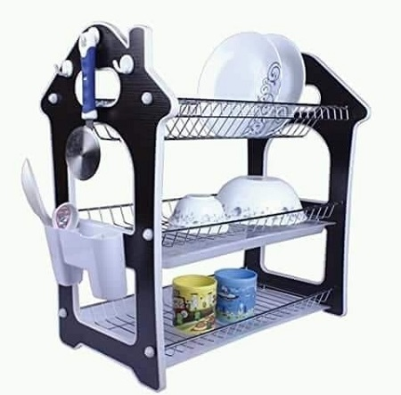 3 Tier Dish Rack/ Drainer Silver