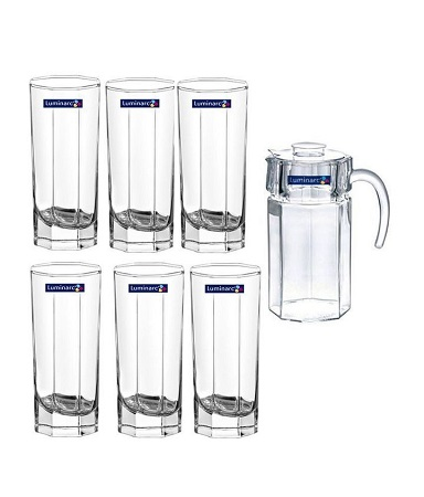 7Pc. Octime Drinking Beverage Set, 6 Drinking Glasses & 1 Pitcher Jug- Clear