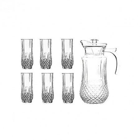 Redberry Quality Tableware Serving Crystal Juice/Water Glasses Jug Set - 7pcs