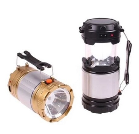 Rechargeable and portable Solar Outdoor Indoor Camping Lamp Flashlight- 1pc