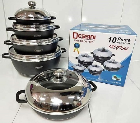 Dessini 10 Pcs Non-Stick Cooking/Serving Pots