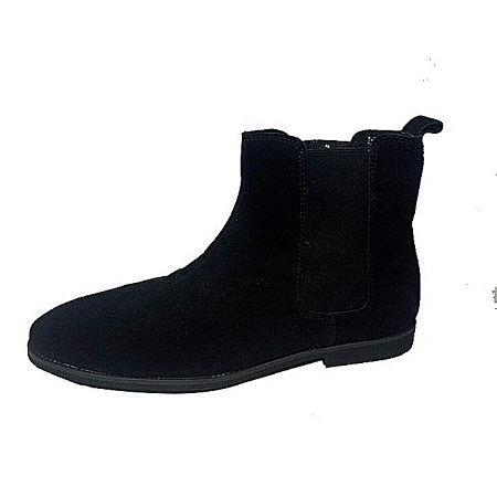 Black Quality Leather Chelsea Boots With Rubber Sole
