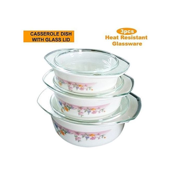 Redberry 3pcs Opal Glass Ware Casserole Bowl Set with Lid - Food Serving Dish Bowl