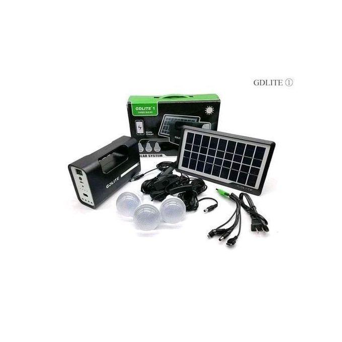 GDLITE Solar Panel LED Lights 3 Bulbs And Phone Charging Kit