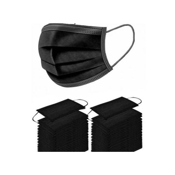Generic Black 3 Ply Disposable Face Mask (50 Pieces)