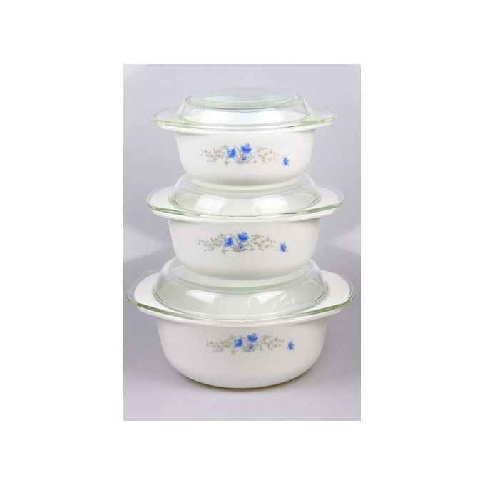 Generic 3pcs Casserole Bowl Set With Lid - Food Serving Dish Bowl.
