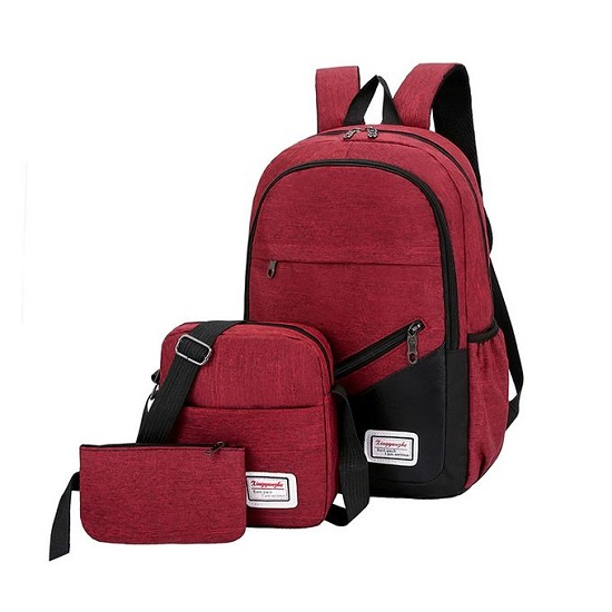 Fashion Canvas 3-In-1 Laptop Backpacks - Maroon