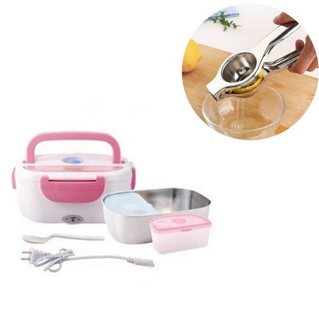 Electric Heated Lunch Box Food Warmer with partition with free lemon squeezer